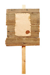 road sign with old paper isolated on a white background