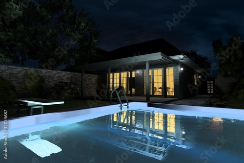 villa with pool in the evening