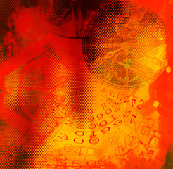 Clock,numbers before colored grunge background