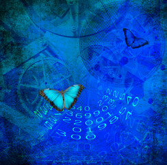 Clock,numbers before  grunge background with butterfly