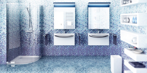 Blue gradiented bathroom