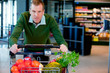 Portrait of a Man in Supermarket