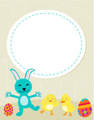 Cute Easter bunny, chicken and eggs