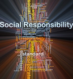 Social responsibility background concept glowing poster