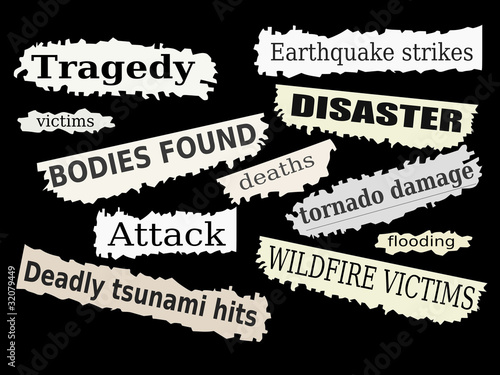 Disasters - newspaper headlines with tragedies
