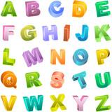 Fototapety Colored 3d alphabet. Vector set.