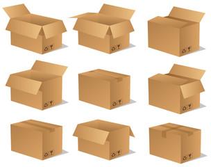 Paket Päckchen Lieferung Box Karton Set 14