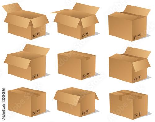 paket p ckchen lieferung box karton set 14 von sunt lizenzfreier vektor 32080896 auf. Black Bedroom Furniture Sets. Home Design Ideas