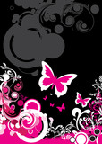 Fototapety abstract floral and butterfly background
