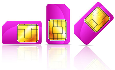 set of pink sim card isolated on white background