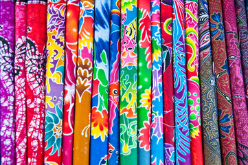 A colorful of thai silk fabric