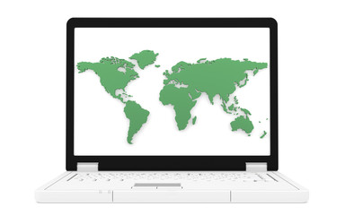 Laptop with a green world map