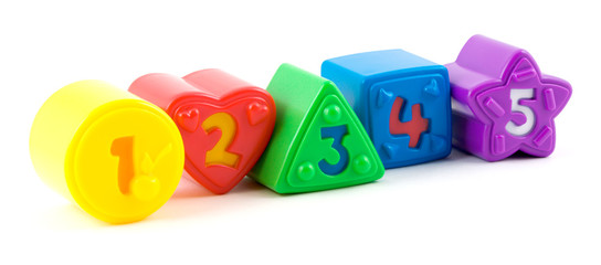toy bricks with numbers in row