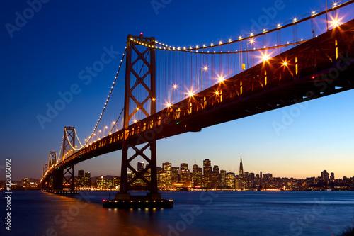 Poster San Francisco skyline and Bay Bridge at sunset, California, USA