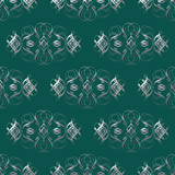 Silver On Green Damask Seamless Pattern