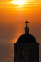 Church in Santorini at sunrise