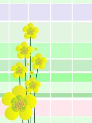 Желтые цветы на клетчатом фоне