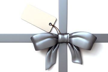 gift ribbon silver and blank tag