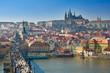 Prague, Charles bridge and Prague Castle, Vltava panorama