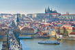 Charles Bridge, Vltava river and Charles Bridge, Prague