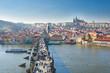Vltava river, Charles bridge and Prague Castle view, Prague