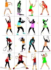 Tennis player poster. Colored Vector
