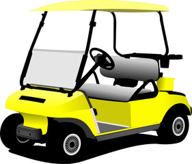 Electrical golf car on isolated white background. Vector illustr