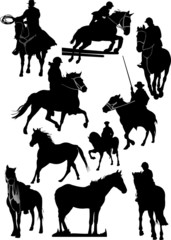 Ten horse silhouettes. Vector illustration