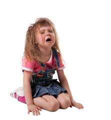 child cry sit on white - isolated
