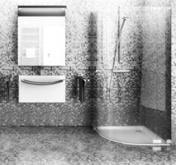 Gray gradiented bathroom