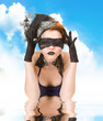 Girl blindfolded