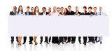 group of business people holding a banner ad
