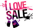 I love sale, vector illustration with splashes.