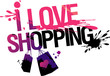I love shopping, vector illustration with splashes