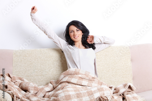 Beautiful woman stretching her body