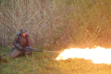 German soldier with flame-thrower.Reenactmenr