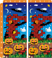 Find ten differences visual puzzle - Halloween pumpkins