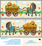 Find ten differences visual puzzle - Halloween, autumn, harvest poster