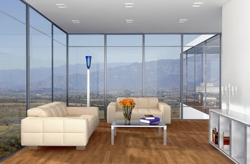 Contemporary Living Room with a View