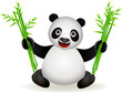 cute panda with bamboo