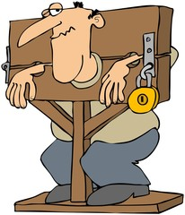 Man Locked In A Pillory