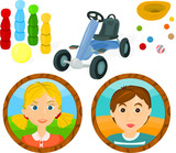 Set of a children's games accessories and portraits B