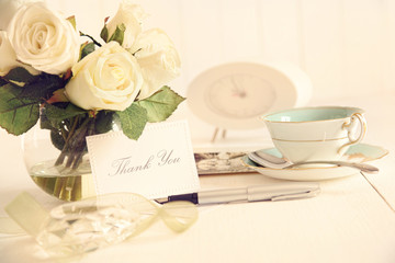Thank you note on table with nostalgic feel