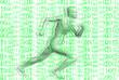 rennender Mann mit Binärcode