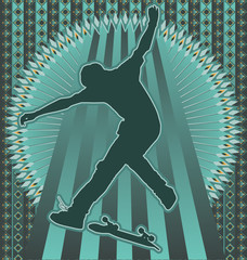 Vintage background design with skateboarder silhouette