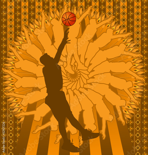 basketball player silhouette. with asketball player