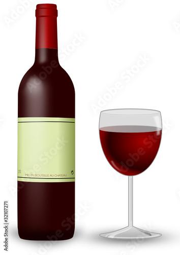 Rotwein mit Weinglas