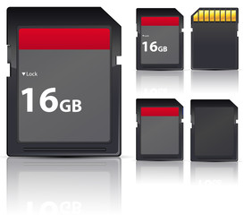 set of black sd card isolated on white background