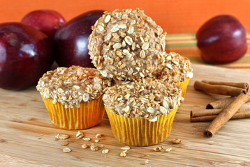 Stacked Apple Bran and Granola Muffins with selective focus on f