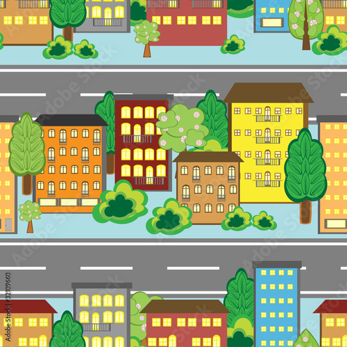 Foto op Plexiglas Op straat Seamless background with cartoon town pattern